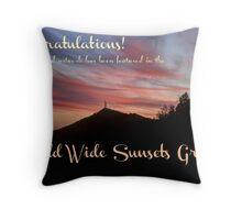 Currahee Mountain Sunset Banner Throw Pillow