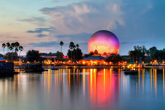 Dusk Descends on EPCOT by Ray Chiarello