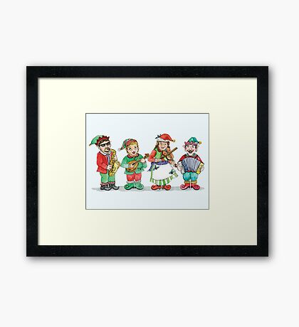 Santa's Band of Elves Framed Print