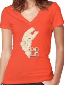 Pola with textured background Women's Fitted V-Neck T-Shirt