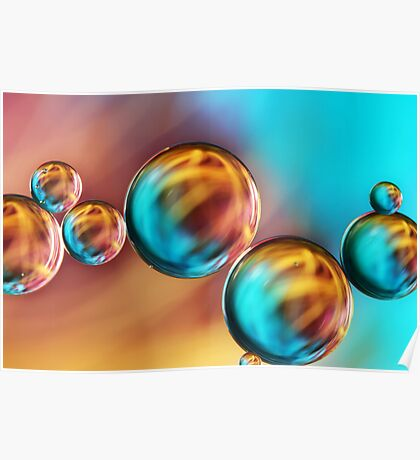 Techno-coloured Bubble Abstract Poster
