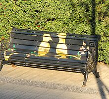 Two birds on bench. by Anne Scantlebury