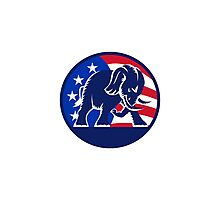 Republican Elephant Mascot USA Flag Photographic Print