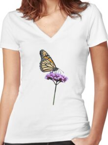Monarch on mauve t-shirt/leggings/merchandise Women's Fitted V-Neck T-Shirt
