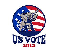Republican Elephant Mascot USA Flag Vote by patrimonio