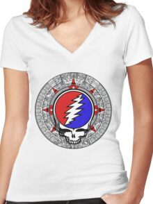 Mayan Calendar Steal Your Face - Basic Color Women's Fitted V-Neck T-Shirt