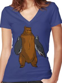 Bear with Shark Arms! - Large Women's Fitted V-Neck T-Shirt
