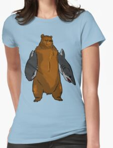 Bear with Shark Arms! - Large Womens Fitted T-Shirt