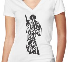 Don't Rescue Me Women's Fitted V-Neck T-Shirt