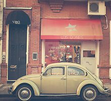 Beige Volkswagen Bug and a lovely Pink Shop (Vintage - Retro Urban Photography) by Andreka