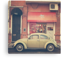 Beige Volkswagen Bug and a lovely Pink Shop (Vintage - Retro Urban Photography) Canvas Print