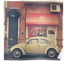 Beige Volkswagen Bug and a lovely Pink Shop (Vintage - Retro Urban Photography) Poster