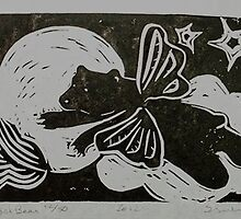 Angel Bear linocut, hand cut  and pulled by Suzi Linden