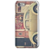 Beige Volkswagen Bug and a lovely Pink Shop (Vintage - Retro Urban Photography) iPhone Case/Skin