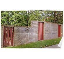 Fancy brick fence with a little touch of wood2 Poster