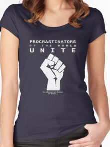 Procrastinators! UNITE! ..In an hour or two.. Women's Fitted Scoop T-Shirt