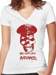 ACAB RED Women's Fitted V-Neck T-Shirt