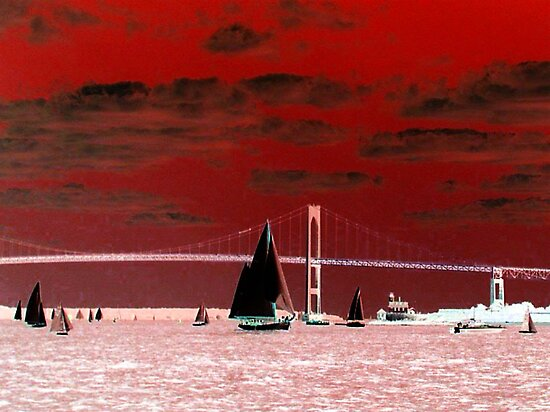 Red Sky Over the Pell Bridge by Jane Neill-Hancock