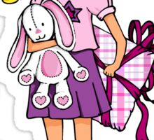 Gift blonde girl with lucky white bunny Sticker