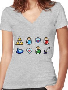 Zelda Items Women's Fitted V-Neck T-Shirt