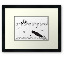 Moby Dick Black and White Illustrated Quote Framed Print