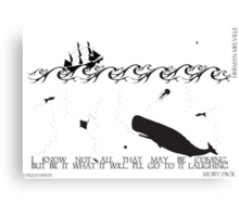 Moby Dick Black and White Illustrated Quote Canvas Print