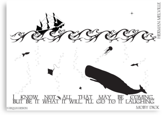 Moby Dick Black and White Illustrated Quote by Emily Farquharson