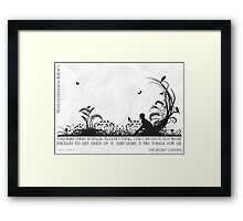 Secret Garden Black and White Illustrated Quote Framed Print