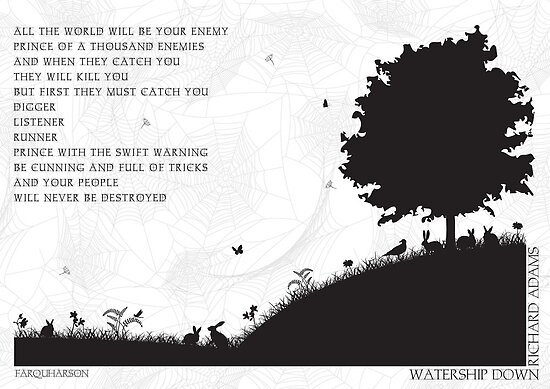 Watership Down Black and White Illustrated Quote by Emily Farquharson