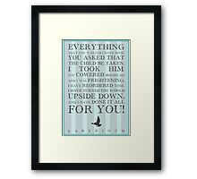 Labyrinth Jareth Movie Quote Framed Print