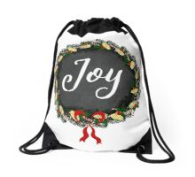 Joy Christmas Wreath Drawstring Bag