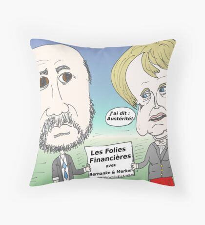 Mekel et Bernanke en caricature des folies boursier Throw Pillow