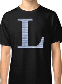 Letter L Blue Watercolor Stripes Monogram Initial Classic T-Shirt