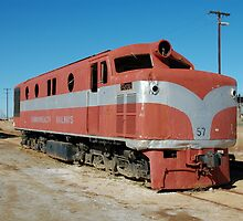 End of the line: abandoned locomotive at Marree by Geoffrey Grinton