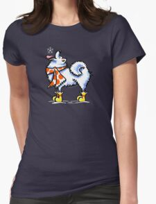 Samoyed / American Eskimo Dog Celebrate Winter Womens Fitted T-Shirt