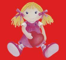 Girls toy rag doll watercolor kids nursery art pink Baby Tee
