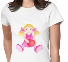 Girls toy rag doll watercolor kids nursery art pink Womens Fitted T-Shirt
