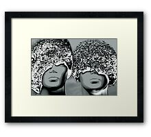 Grunge abstract faces Framed Print