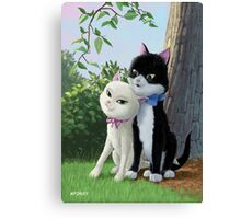 two romantic cats in love by tree Canvas Print