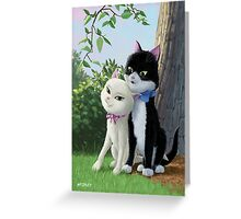 two romantic cats in love by tree Greeting Card