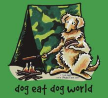 Golden Retriever Dog Eat Dog by offleashart