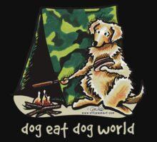 Golden Retriever Dog Eat Dog {kids, dark} One Piece - Long Sleeve
