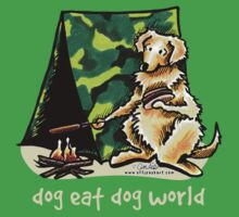 Golden Retriever Dog Eat Dog {kids, dark} Kids Tee