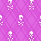 Bright Magenta Skull and Crossbones Plaid by HighDesign
