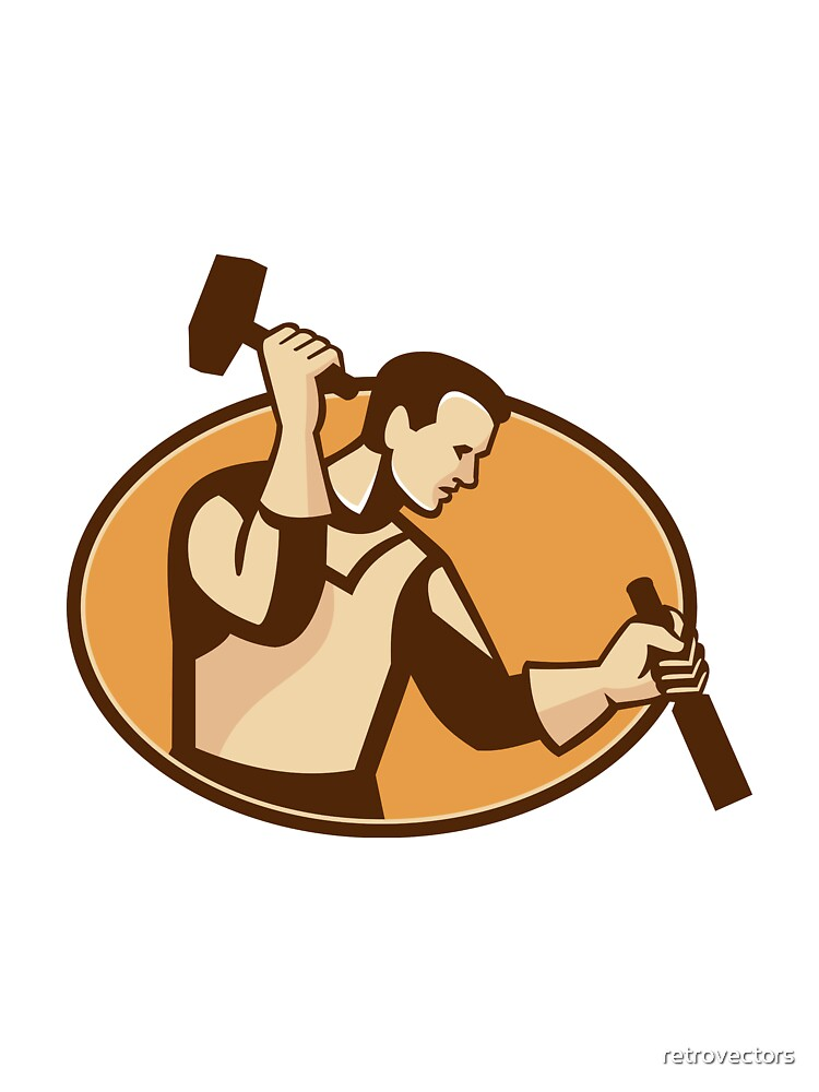 carpenter sculptor with hammer chisel retro by retrovectors