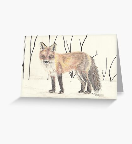 Colored pencil Fox Greeting Card
