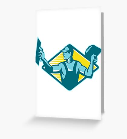 plasterer worker tradesman plastering retro Greeting Card