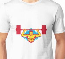 weightlifter body builder lifting weights  retro Unisex T-Shirt