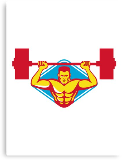weightlifter body builder lifting weights  retro by retrovectors