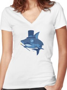 Nefarious Shark Women's Fitted V-Neck T-Shirt